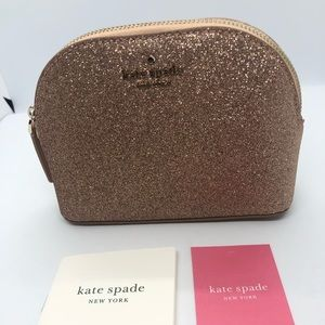 Kate Spade Small Dome Gold Glitter Cosmetic Bag